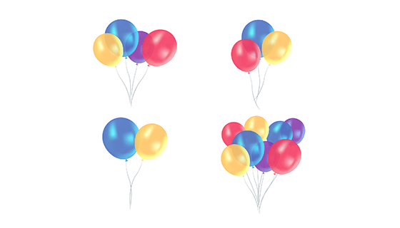 多彩逼真的气球矢量素材(EPS/AI/PNG)