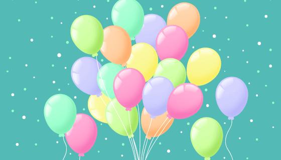 彩色气球喜庆背景矢量素材(EPS/AI/PNG)