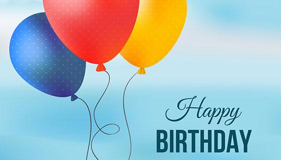 多彩气球生日快乐贺卡矢量素材(EPS/AI/PNG)