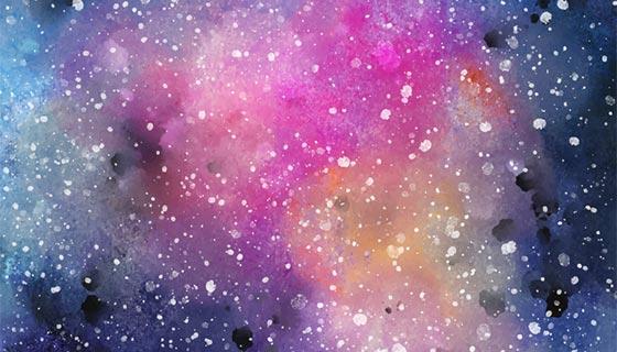 水彩太空背景矢量素材(EPS)