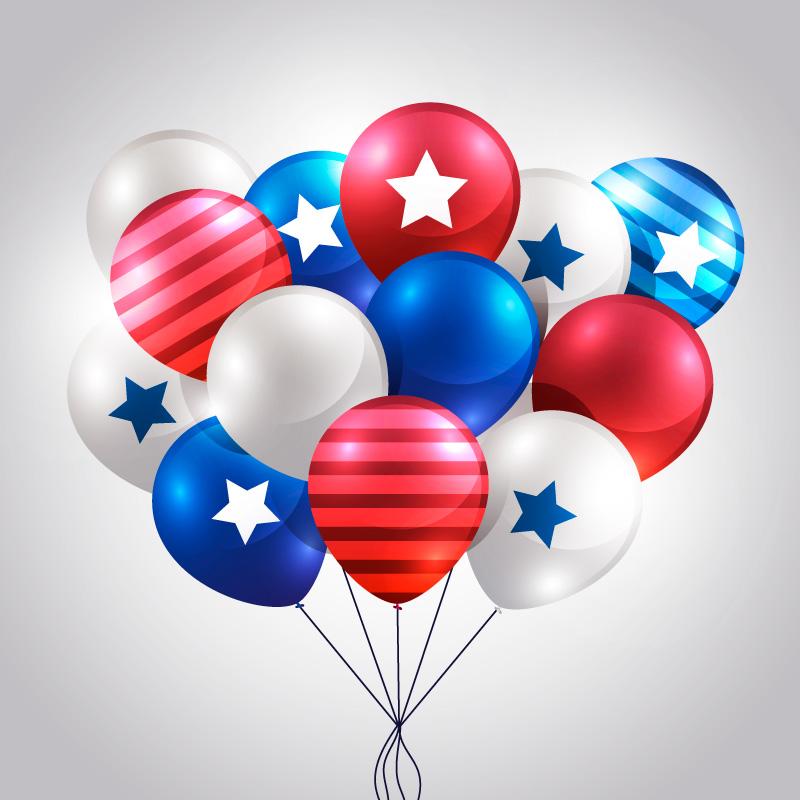 美国独立日逼真气球矢量素材(EPS/AI/免扣PNG)