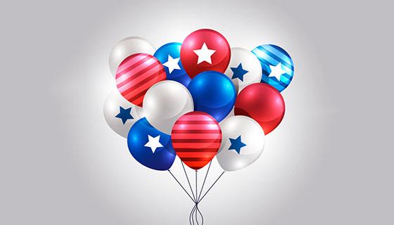 美国独立日逼真气球矢量素材(EPS/AI/PNG)