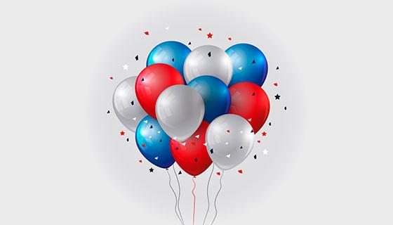 美国独立日逼真气球背景矢量素材(EPS/AI/PNG)
