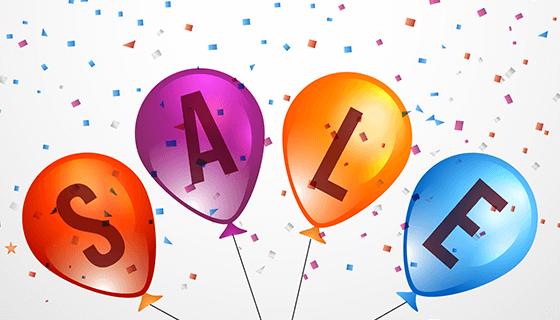 逼真气球和五彩纸屑促销矢量素材(EPS/AI/PNG)