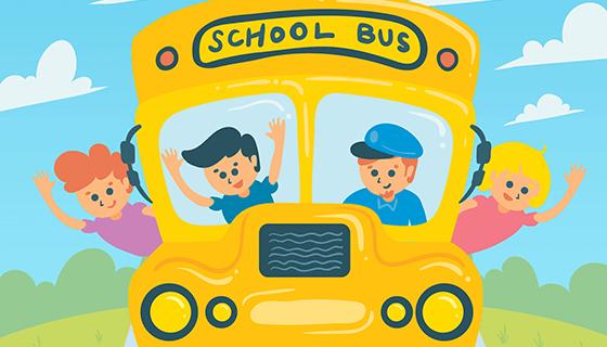 手绘儿童校车矢量素材(EPS/AI)