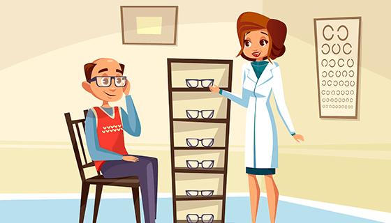 女眼科医生和男患者矢量素材(EPS)