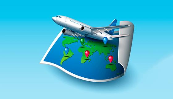 旅游元素逼真地图矢量素材(EPS/AI/PNG)