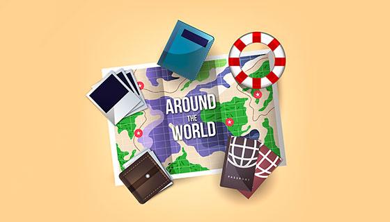 旅游元素逼真地图矢量素材(EPS/AI)