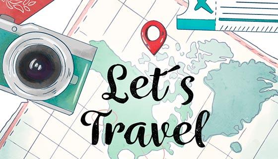 旅游元素水彩地图矢量素材(EPS/AI)