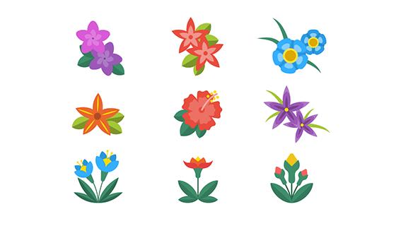 扁平热带花卉矢量素材(EPS/AI/PNG)