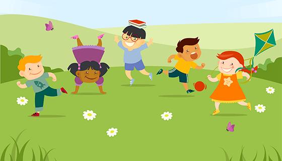 可爱小朋友公园玩耍矢量素材(EPS/AI)