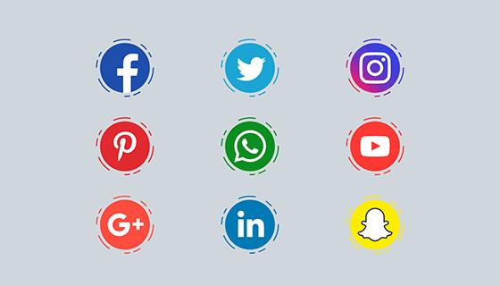 圆形扁平社会化媒体图标矢量素材(EPS/PNG)