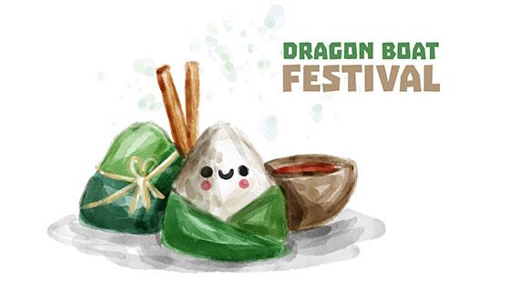 可爱水彩粽子端午节背景矢量素材(EPS/AI)