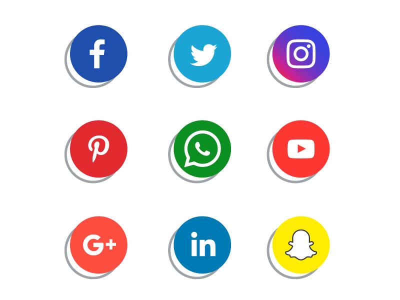 扁平社会化媒体图标矢量素材(EPS/免扣PNG)