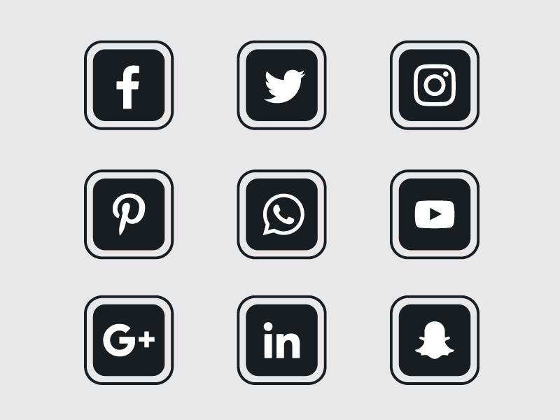 黑色扁平社会化媒体图标矢量素材(EPS/免扣PNG)