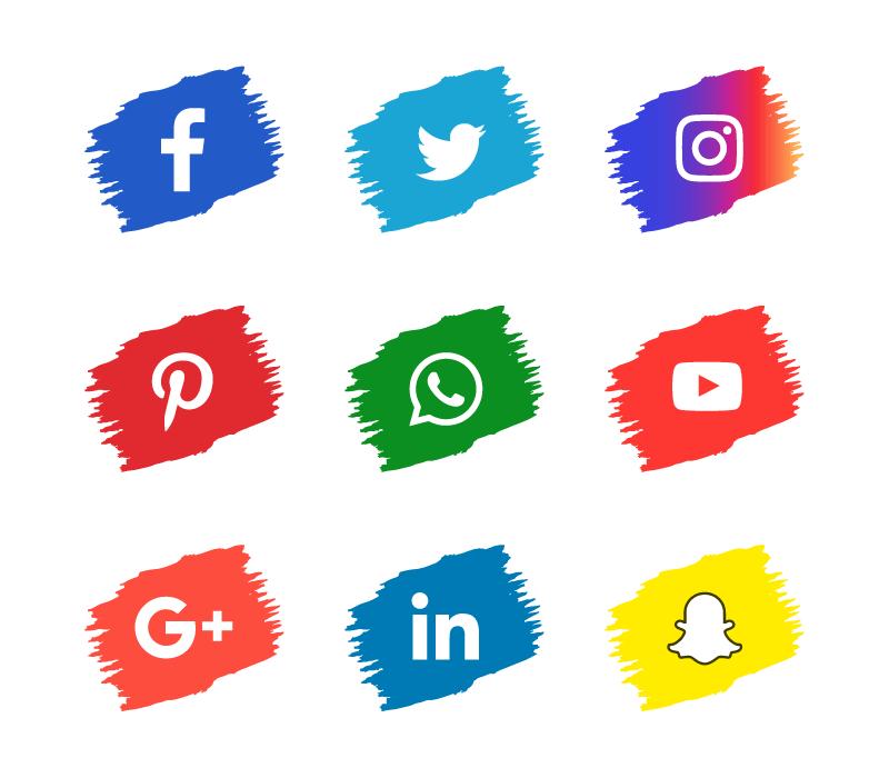 笔触风格社会化媒体图标矢量素材(EPS/免扣PNG)