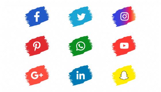 笔触风格社会化媒体图标矢量素材(EPS/PNG)
