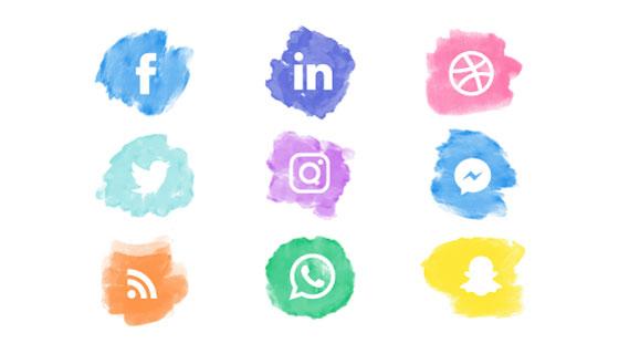 水彩风格社会化媒体图标矢量素材(EPS/AI/PNG)
