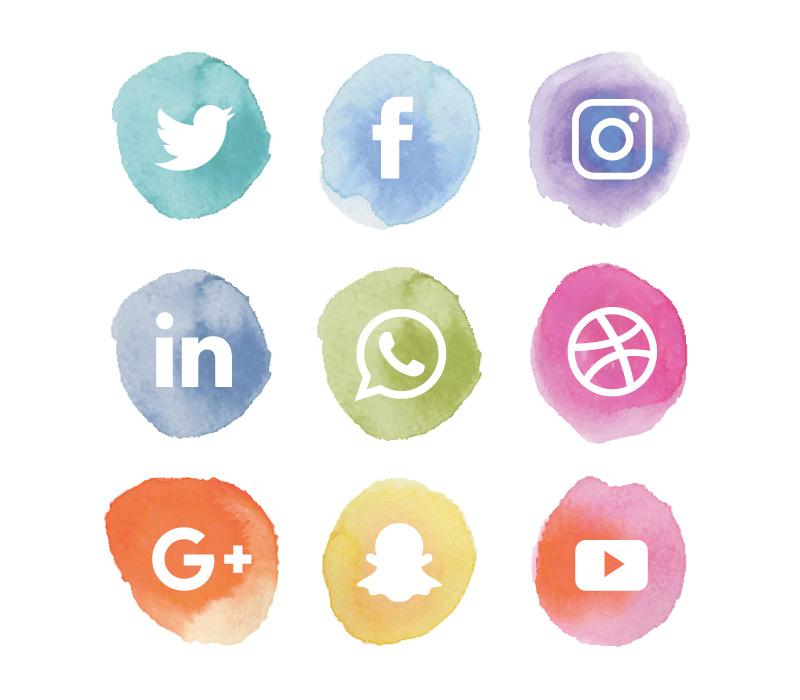 水彩风格社会化媒体图标矢量素材(EPS/AI/免扣PNG)
