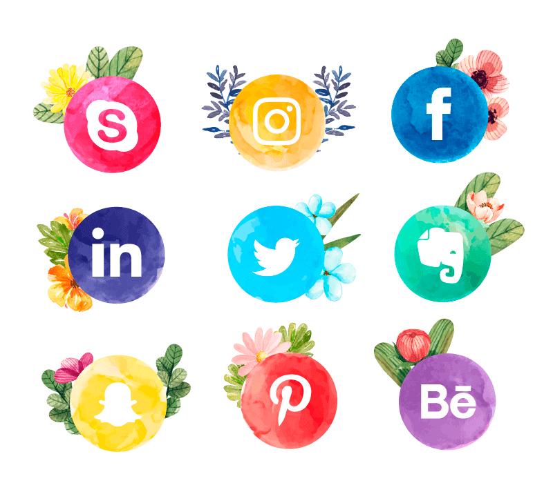水彩花卉社会化媒体图标矢量素材(EPS/AI/免扣PNG)