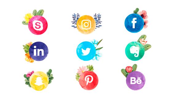 水彩花卉社会化媒体图标矢量素材(EPS/AI/PNG)