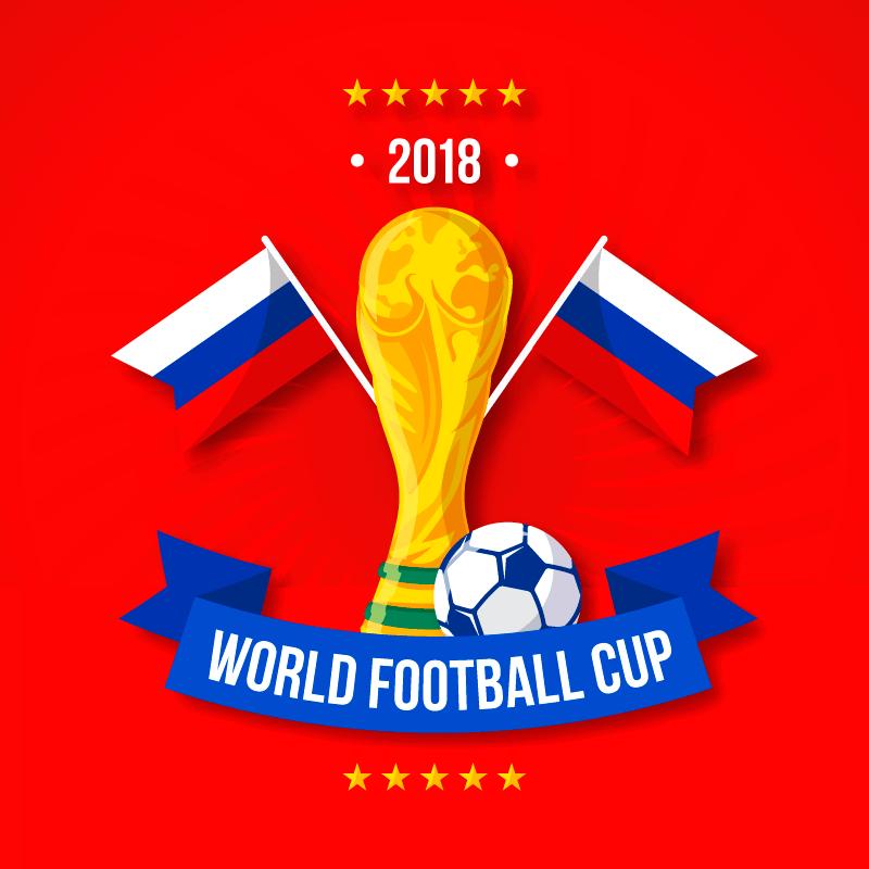 金色奖杯2018世纪杯背景矢量素材(EPS/AI)
