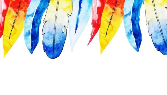 美丽的水彩羽毛背景矢量素材(EPS/PNG)
