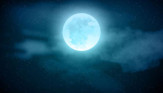 蓝色月亮的夜景矢量素材(EPS/AI)