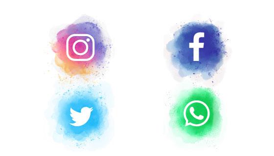 水彩风格社会化媒体图标矢量素材(EPS)