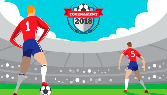 球场上的运动员世界杯背景矢量素材(EPS/AI)