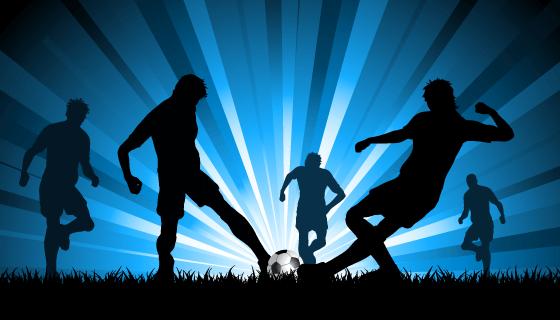 足球运动员剪影矢量素材(EPS)