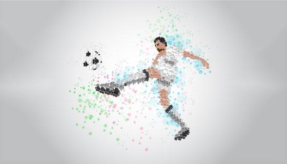 抽象运动员踢足球矢量素材(EPS/PNG)