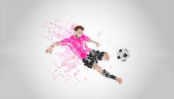 抽象运动员踢足球矢量素材(EPS/AI/PNG)