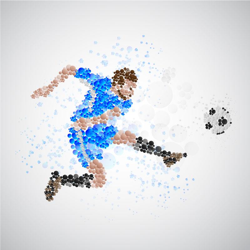 抽象运动员踢足球矢量素材(EPS/AI/免扣PNG)
