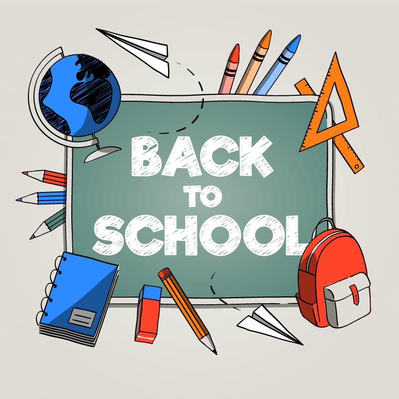 学习工具设计的开学季返校矢量素材(EPS/AI/免扣PNG)