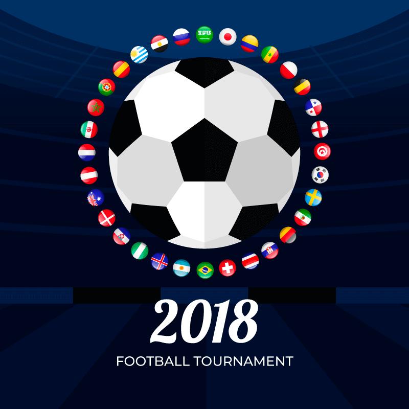 足球和各国国旗世界杯背景矢量素材(EPS/AI/免扣PNG)