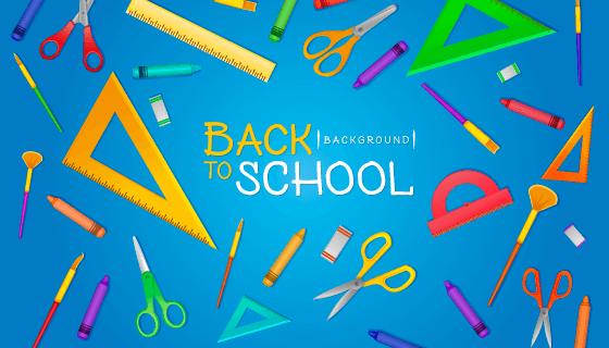 学习工具设计的开学季返校矢量素材(EPS/AI/PNG)