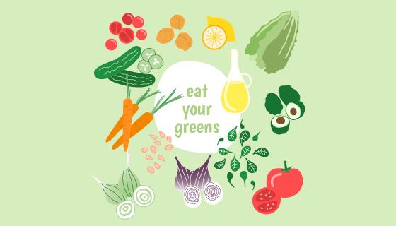 新鲜美味的蔬菜水果矢量素材(EPS/AI/PNG)