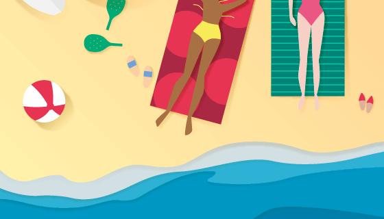 俯视海滩背景矢量素材(EPS/AI)