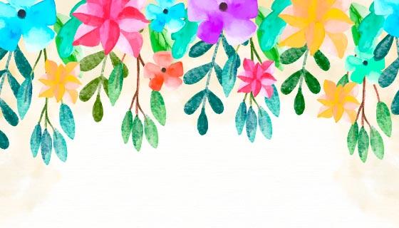 可爱的水彩花卉背景矢量素材(EPS/AI)