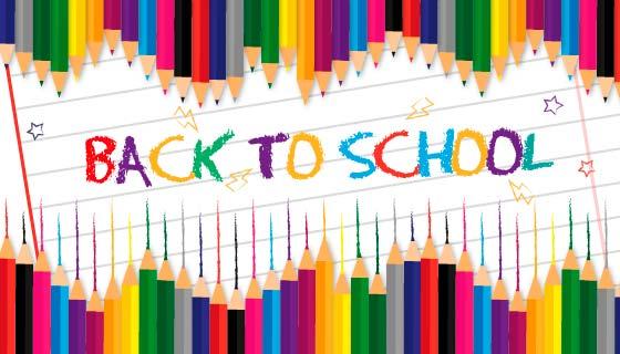 彩色铅笔设计开学季返校矢量素材(EPS/AI)