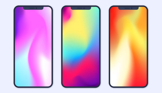 渐变壁纸的iPhone X矢量素材(EPS/AI/PNG)