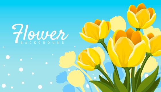 漂亮黄色花卉矢量素材(EPS/AI)