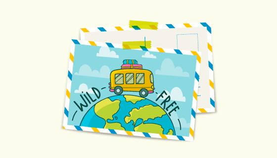 旅游元素明信片矢量素材(EPS/AI/PNG)