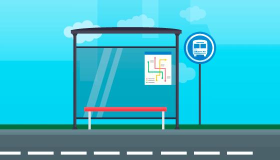 空旷的公交车站矢量素材(EPS/AI)