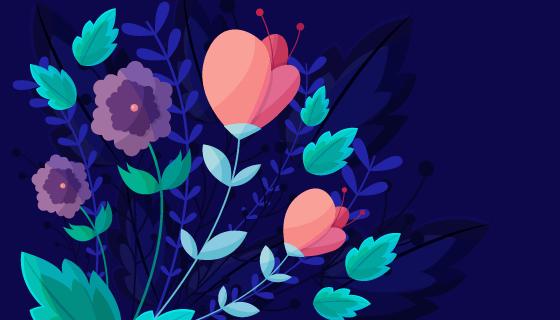 漂亮的鲜花背景矢量素材(EPS/AI)
