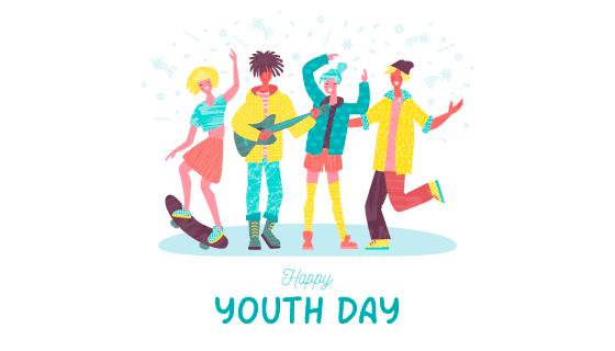 快乐的年轻人国际青年节背景矢量素材(EPS/AI/PNG)