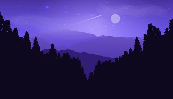 月光下的松树风景剪影矢量素材(EPS)