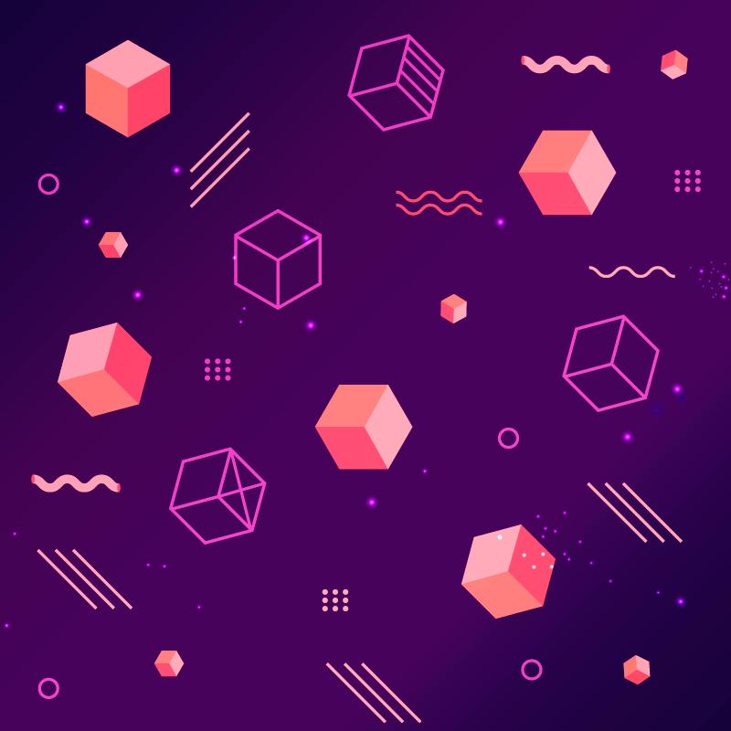 立体正方形抽象背景矢量素材(EPS/AI)