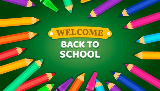 彩色铅笔设计开学季返校矢量素材(EPS/AI/PNG)